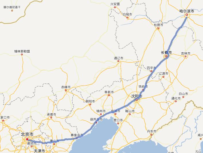 g1京哈高速公路线路图示