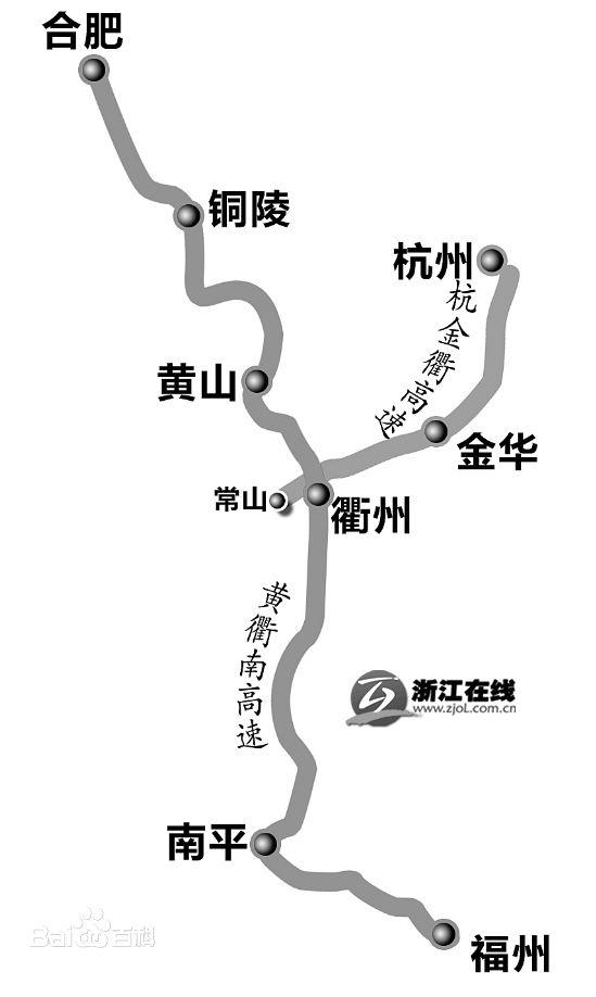黄衢南高速公路线路图示
