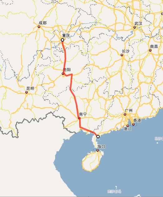 G050渝湛高速公路线路图示