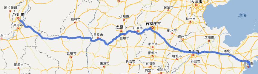 G20青银高速公路线路图示