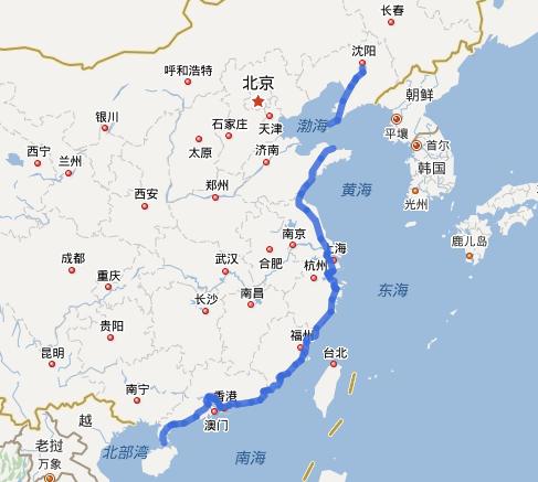 G15沈海高速公路线路图示