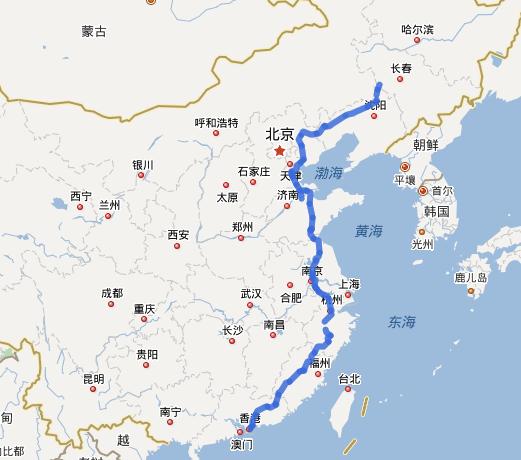 G25长深高速公路线路图示