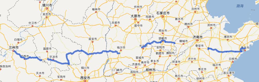 G22青兰高速公路线路图示