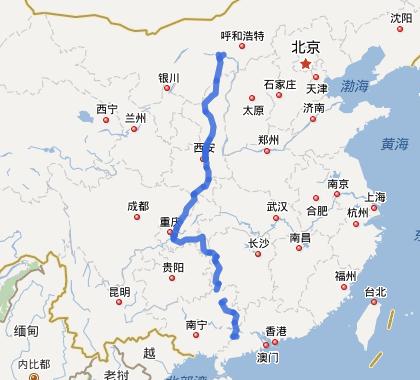 G65包茂高速公路线路图示