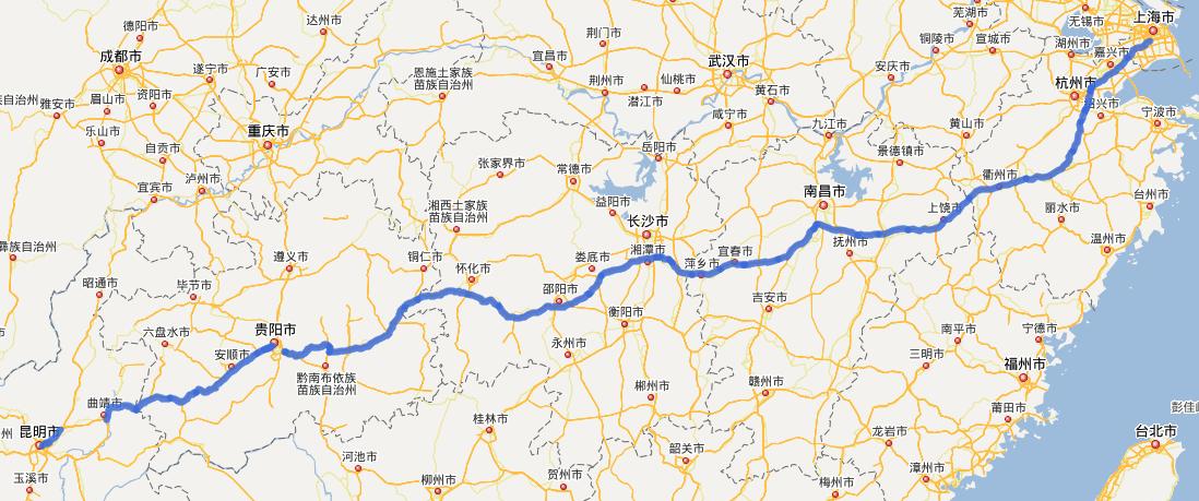 G60沪昆高速公路线路图示