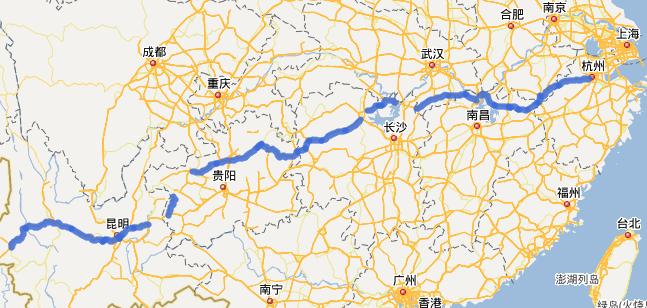 G56杭瑞高速公路线路图示