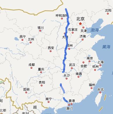 G55二广高速公路线路图示