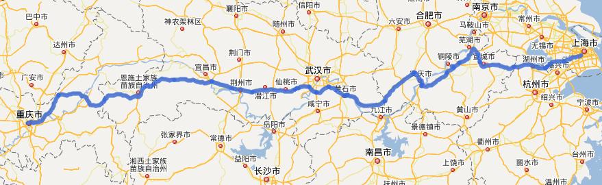 G50沪渝高速公路线路图示