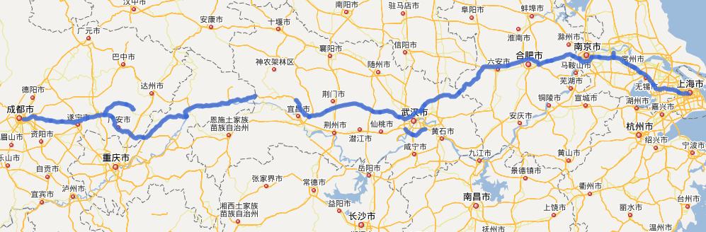 G42沪蓉高速公路线路图示