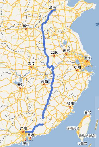 G35济广高速公路线路图示