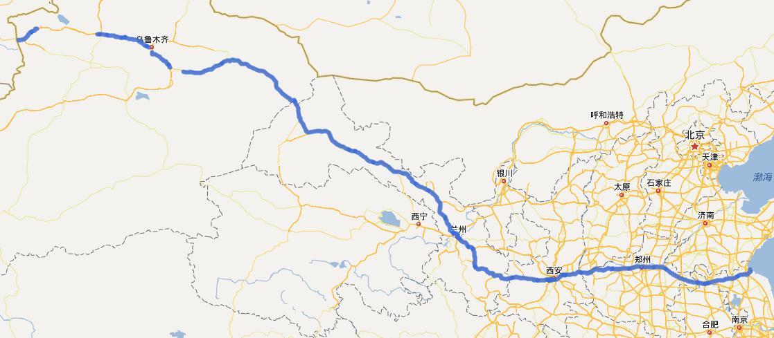 G30连霍高速公路线路图示