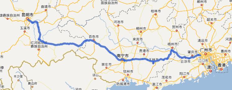 G80广昆高速公路线路图示