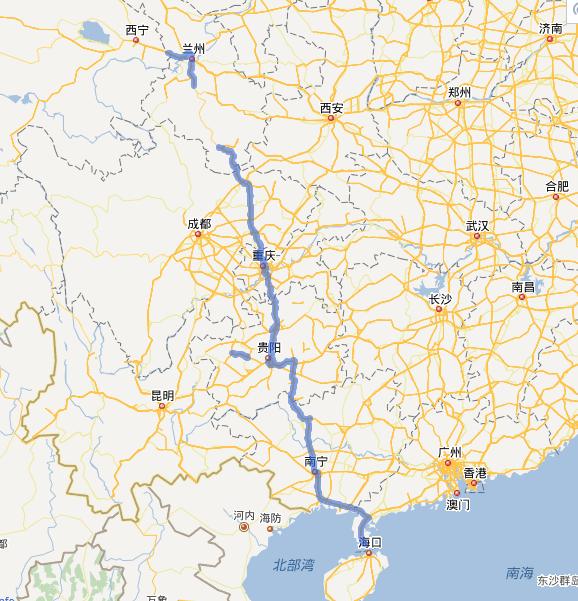 G75兰海高速公路线路图示