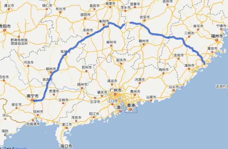 G72泉南高速公路线路图示