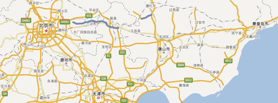 g1n京秦高速公路线路图示