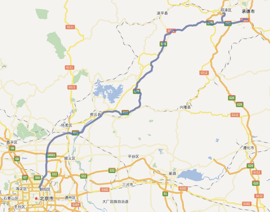 京承高速公路线路图示