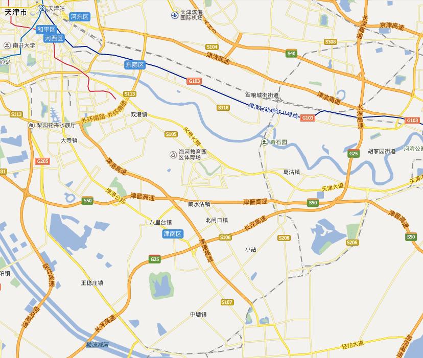 津港高速公路线路图示