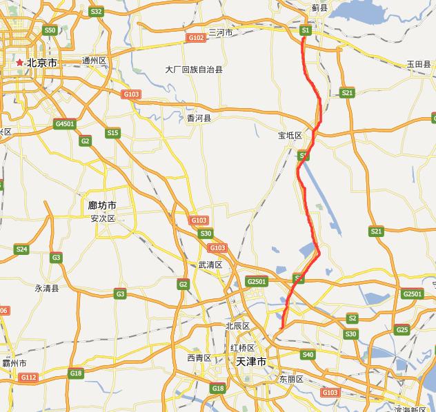 津蓟高速公路线路图示