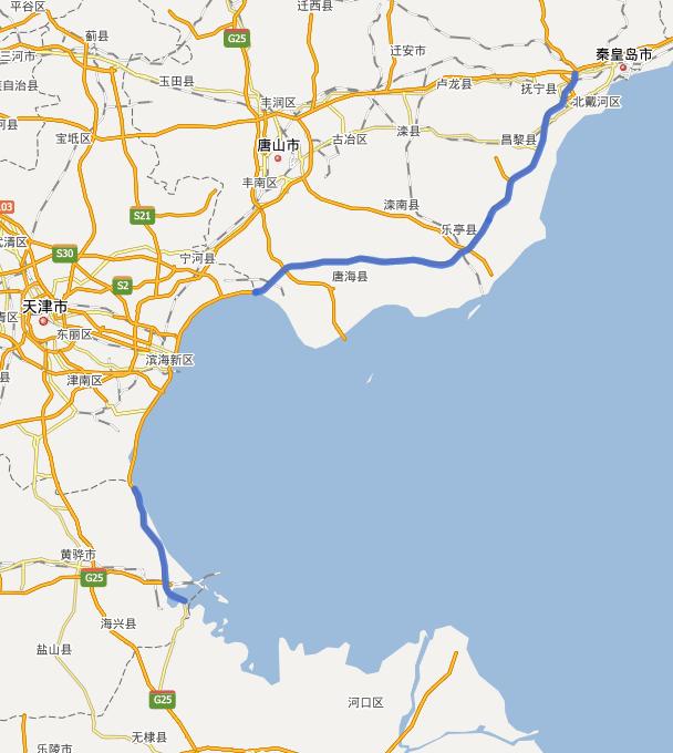 河北沿海高速公路线路图示