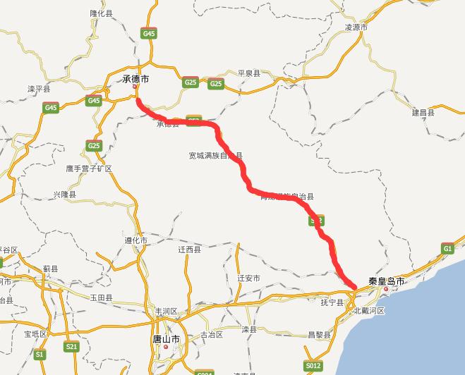 承秦高速公路线路图示
