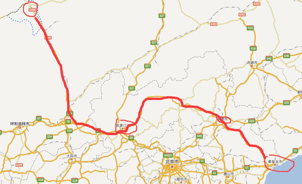 二秦高速公路线路图示
