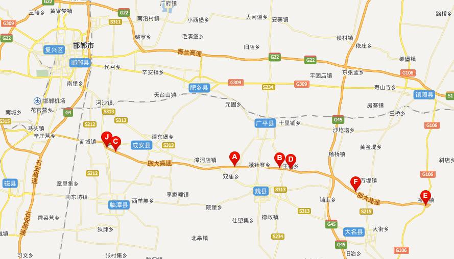 邯大高速公路线路图示