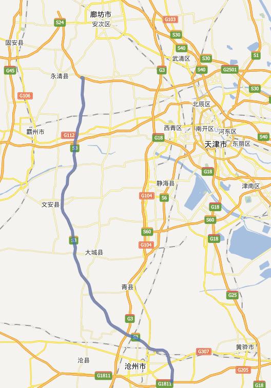 廊沧高速公路线路图示