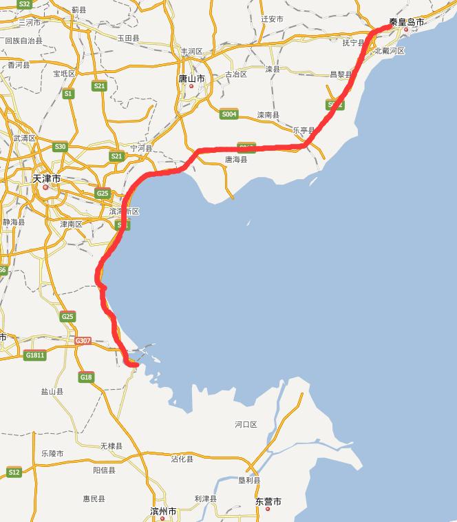秦滨高速公路线路图示