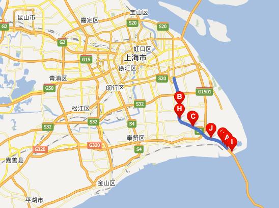 沪芦高速公路线路图示