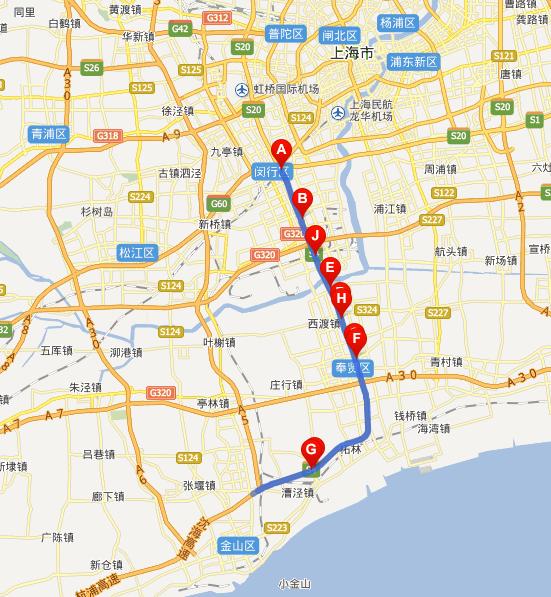 沪金高速公路线路图示