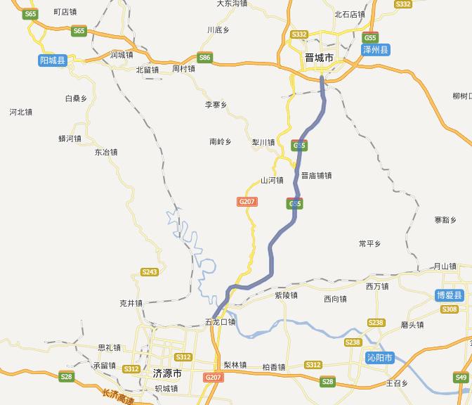 晋济高速公路线路图示