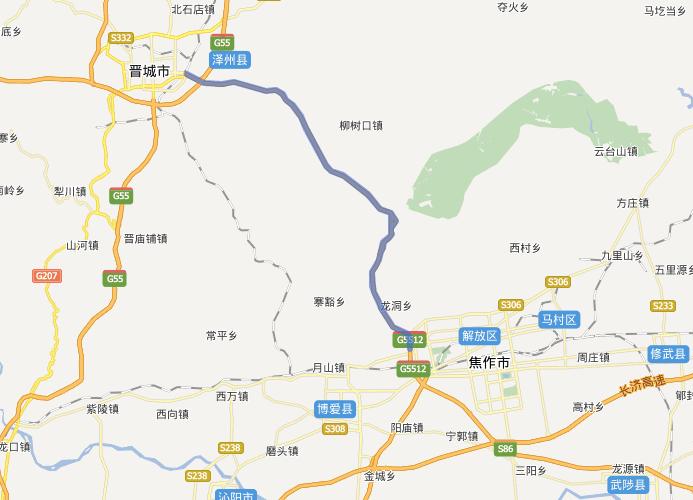 晋焦高速公路线路图示