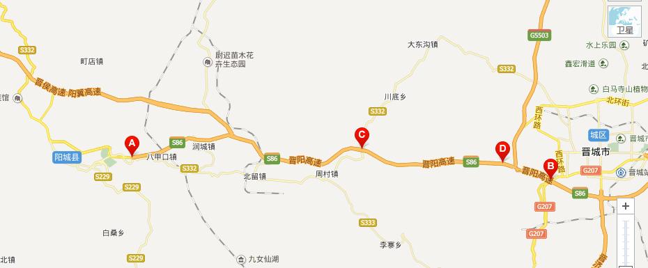 晋阳高速公路线路图示