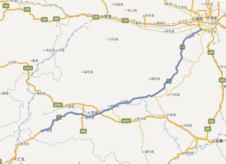 西汉高速公路线路图示