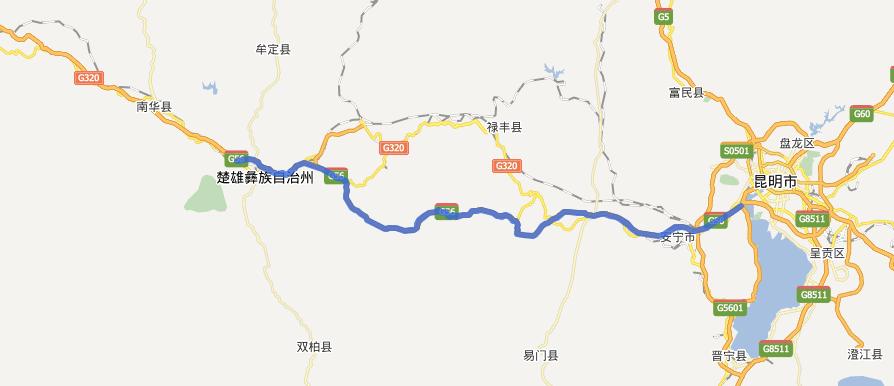 昆楚高速公路线路图示