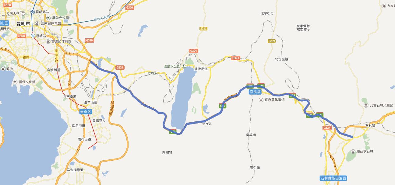 昆石高速公路线路图示