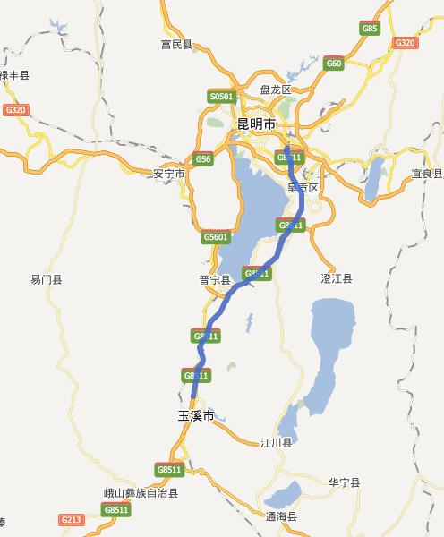 昆玉高速公路线路图示