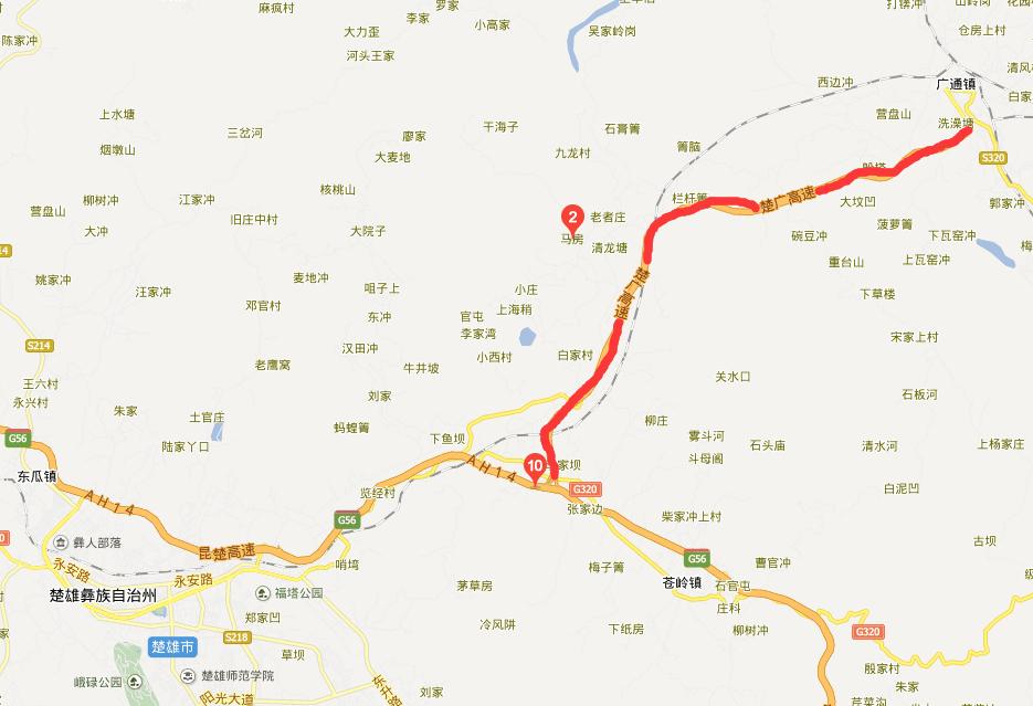 楚广高速公路线路图示