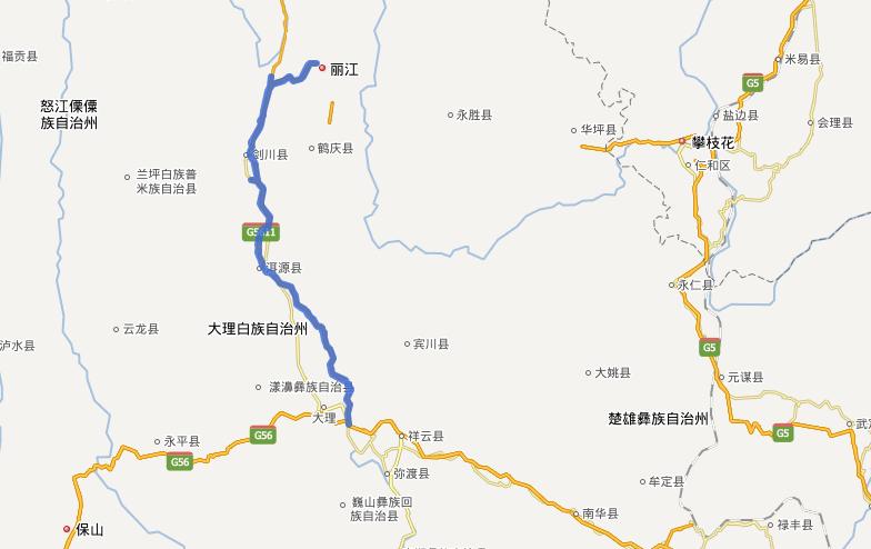 大丽高速公路线路图示
