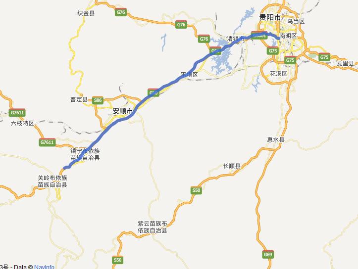 贵黄高速公路线路图示