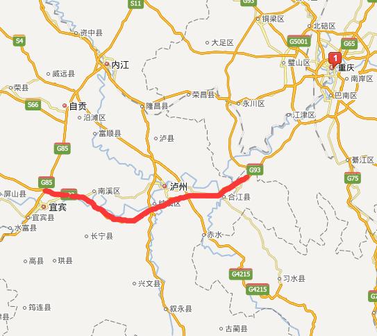 宜泸渝高速公路线路图示