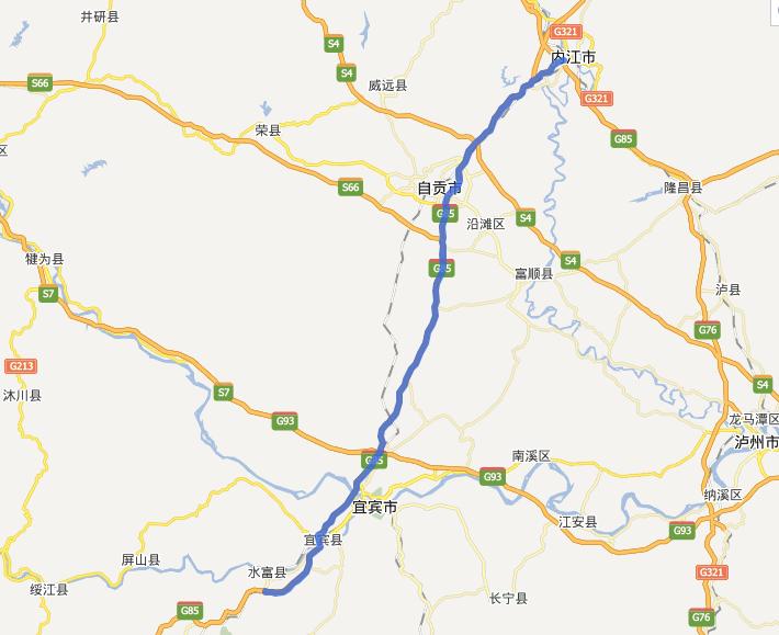 内威荣高速公路线路图示