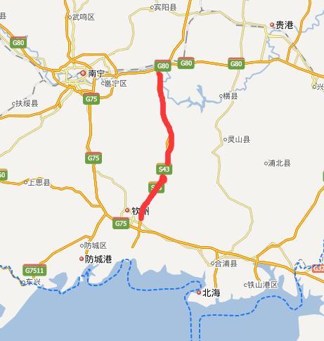 六钦高速公路线路图示