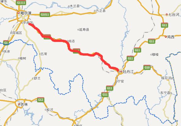 哈牡高速公路线路图示