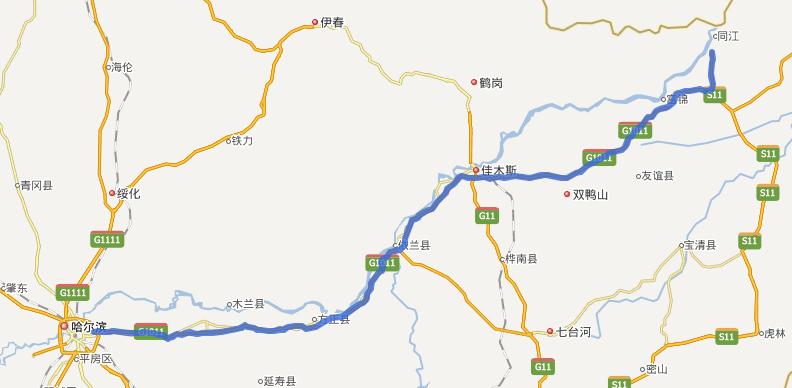 哈同高速公路线路图示