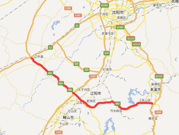 本辽辽高速公路线路图示