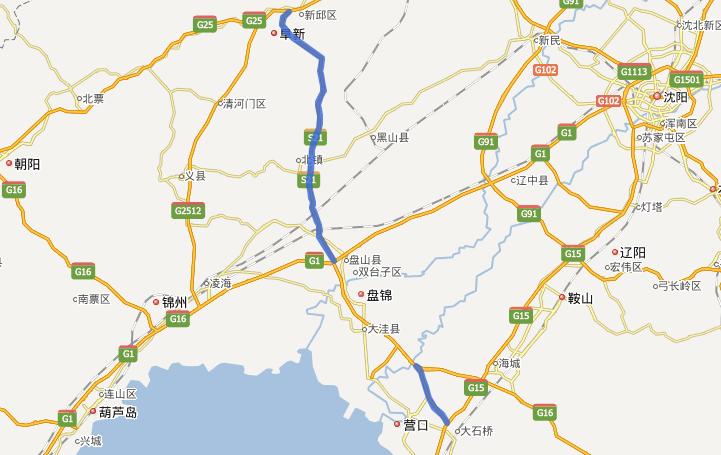 阜营高速公路线路图示