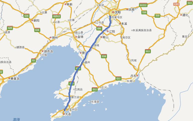 沈大高速公路线路图示