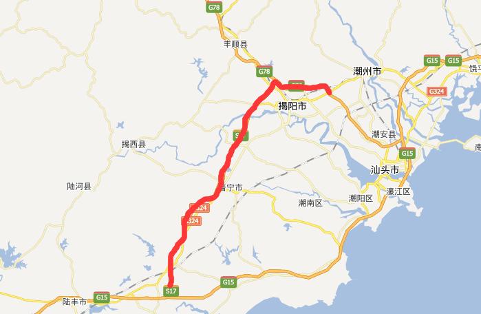 潮惠高速公路线路图示