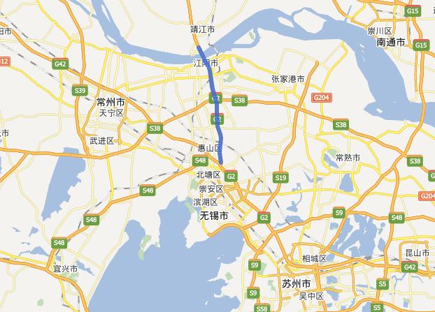 锡澄高速公路线路图示